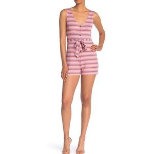 NWT The Vanity Room Ribbed Button Front Romper